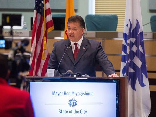 Ken Miyagishima, mayor of Las Cruces, gives the state of the city address Wednesday March 28, 2018 at Las Cruces City Hall.
