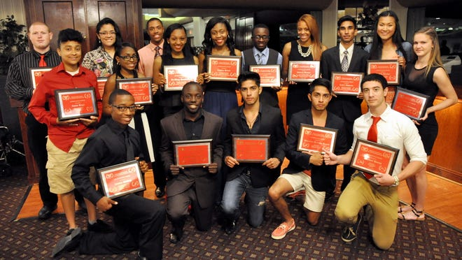 Vineland High School honored its senior student athletes at the annual VHS All-Sports banquet on June 2 at Merighi's Savoy Inn. Pictured are the school's triple-award winners, honored for participating in three sports. Front row (from left): Xavier Malloy, Christopher Atoki, Marlon Herrera-Reyna, Brandon Herrera-Reyna and Michael Hanna. Back row (from left): Ian Parr, Alana Lugo, Christina Baez, Jacqueline Askins, Otis White, TaShay Henderson, Taylor Green, Francois Chambers, Tiffany Brown, Ankit Sharma, Aubrie Lincks and Amanda Grissman.