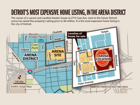Location of a vacant house near the new Red Wings arena