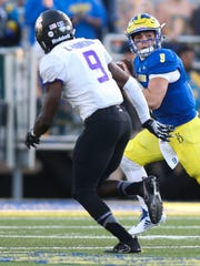 Delaware quarterback J.P. Caruso enters the game with about 7 minutes left in the fourth quarter of the Blue Hens' 20-10 loss at Delaware Stadium.