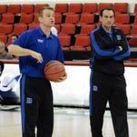 Duke head coach Mike Krzyzewski, right, and assistant coach Steve Wojciechowski.
