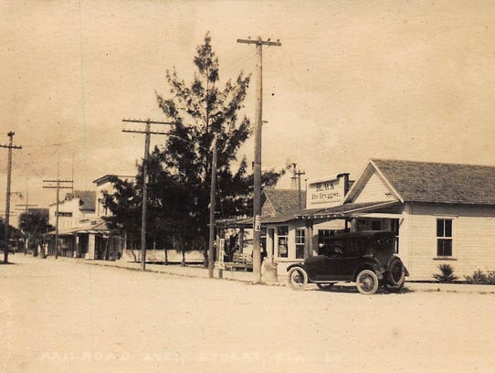 In 1921, Black's Drug Store was located along Railroad