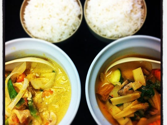 Yellow and Red curry dishes at Pad Thai Cafe.