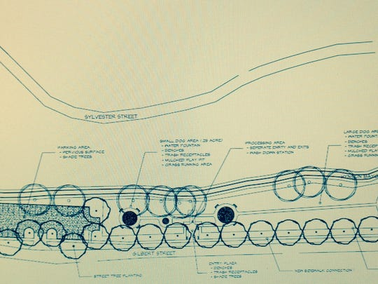 """This drawing shows plans for """"Hynson Bark,"""" a dog park to be located along Gilbert Street  across Masonic Drive from City Park in Alexandria."""