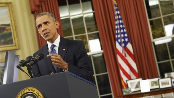 President Obama addresses the country from the Oval