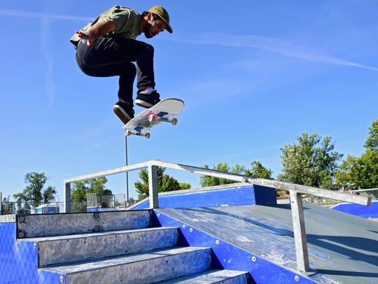 Robert Stocker gets air off a metal ramp at Drake Springs