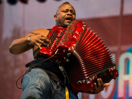 Dwayne Dopsie & the Zydeco Hellraisers perform on the Scéne Lafayette General Fais Do Do stage during Festival International de Louisiane in Lafayette, LA, Wednesday, April 22,2015.