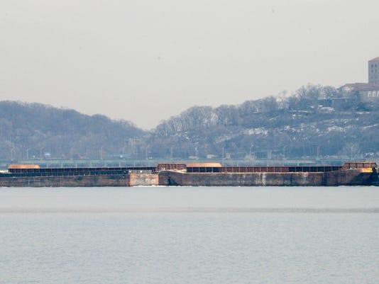 Oil barges along the Hudson