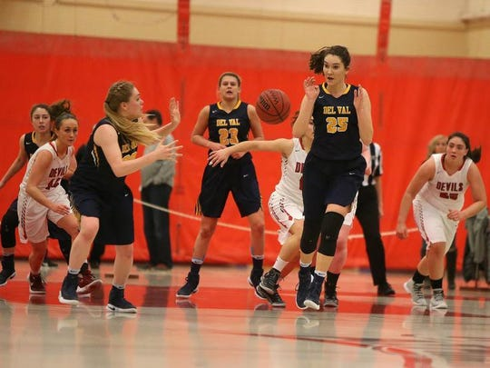 Delaware Valley's Erin Pfreundschuh receives a pass Saturday at HCRHS