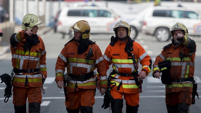 Emergency workers and police at Rue de la Loi, after an explosion at Malbeek Metro station, Brussels, Belgium, March 22, 2016.