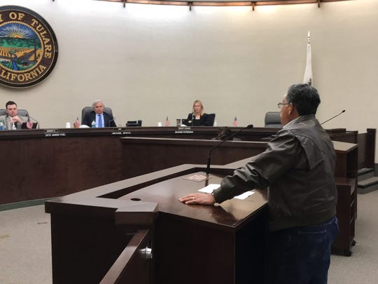 Alberto Aguilar addresses the Tulare County Board of Supervisors on Tuesday. Tulare County District Attorney Tim Ward provided a financial update on the department's investigation into the Tulare Regional Medical Center.
