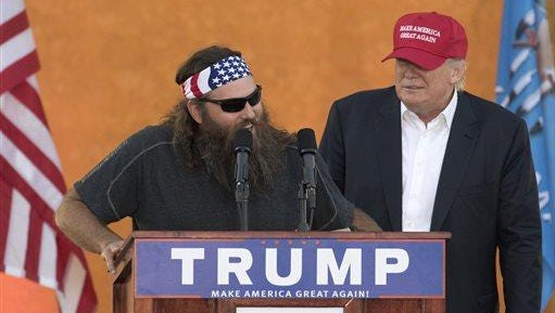 """Duck Dynasty"" star Willie Robertson appeared on stage with Republican presidential candidate Donald Trump during a campaign rally at the Oklahoma State Fair Friday."