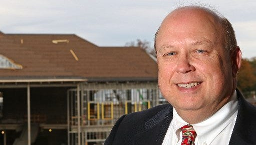 Evans Whitaker, Anderson University President, is photographed near the G. Ross Anderson, Jr. Student Center in 2015.