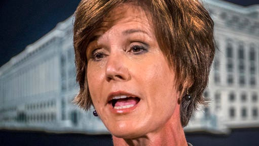 FILE - In this June 28, 2016, file photo, then-Deputy Attorney General Sally Yates speaks at the Justice Department in Washington. On Monday, Jan. 30, 2017, President Donald Trump fired acting Attorney General Sally Yates after she ordered Justice Department lawyers to stop defending refugee ban.