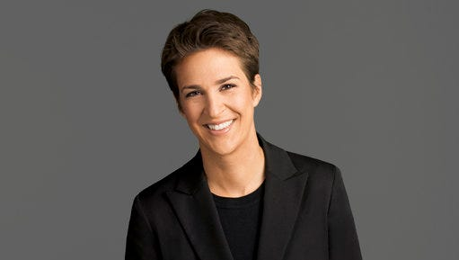 "This image released by NBC shows Rachel Maddow, host of ""The Rachel Maddow Show,"" on MSNBC. Maddow was at the center of the political media universe Tuesday, March 14, 2017, with a story on President Donald Trump's tax returns."