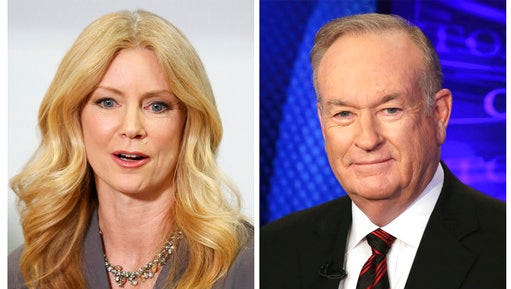 """In this combination photo, former Fox News contributor Wendy Walsh, left, appears at a news conference in the Woodland Hills section of Los Angeles on Monday, April 3, 2017, and Fox News personality Bill O'Reilly appears on the set of his show, """"The O'Reilly Factor"""" on Oct. 1, 2015 in New York. Walsh says she lost a segment on """"The O'Reilly Factor"""" after she refused to go to O'Reilly's bedroom following a 2013 dinner in Los Angeles. She's seeking an investigation by New York City's Commission on Human Rights."""