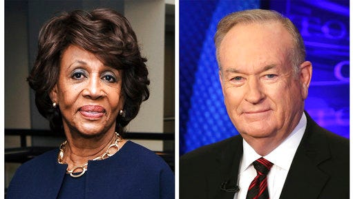 """In this combination photo, Rep. Maxine Waters, D-Calif., left, appears at the Justice on Trial Film Festival on Oct. 20, 2013, in Los Angeles and Fox News personality Bill O'Reilly appears on the set of his show, """"The O'Reilly Factor,"""" on Oct. 1, 2015 in New York. Waters told MSNBC's Chris Hayes on April 5, 2017, that O'Reilly """"needs to go to jail"""" over sexual harassment allegations."""