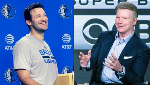 """FILE - At left, in an April 11, 2017, file photo, former Dallas Cowboys quarterback Tony Romo laughs while speaking to reporters in Dallas. At right, in a Jan. 12, 2016, file photo, Phil Simms participates in the """"CBS Sports"""" panel at the CBS 2016 Winter TCA, in Pasadena, Calif. Simms is heading to the studio as part of the CBS program """"NFL Today."""" Simms, recently replaced in the broadcast booth by Romo when the Cowboys quarterback retired from playing, has experience working in a studio setting with Showtime's """"Inside the NFL."""""""