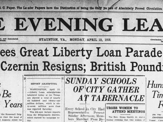 "Headlines from the April 15, 1918, Staunton newspaper regarding a ""Great Liberty Loan Parade."""