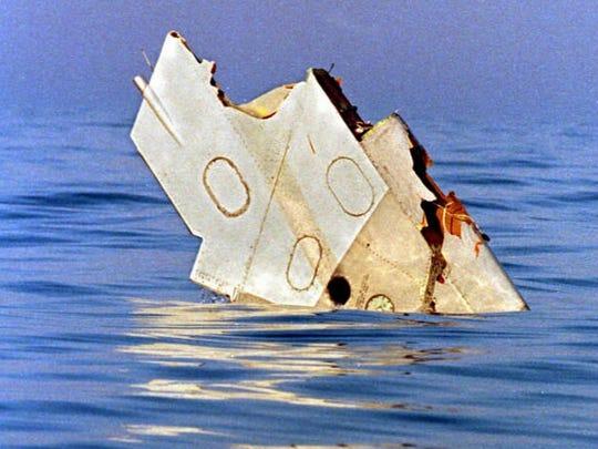 A piece of debris from TWA Flight 800 floats in the