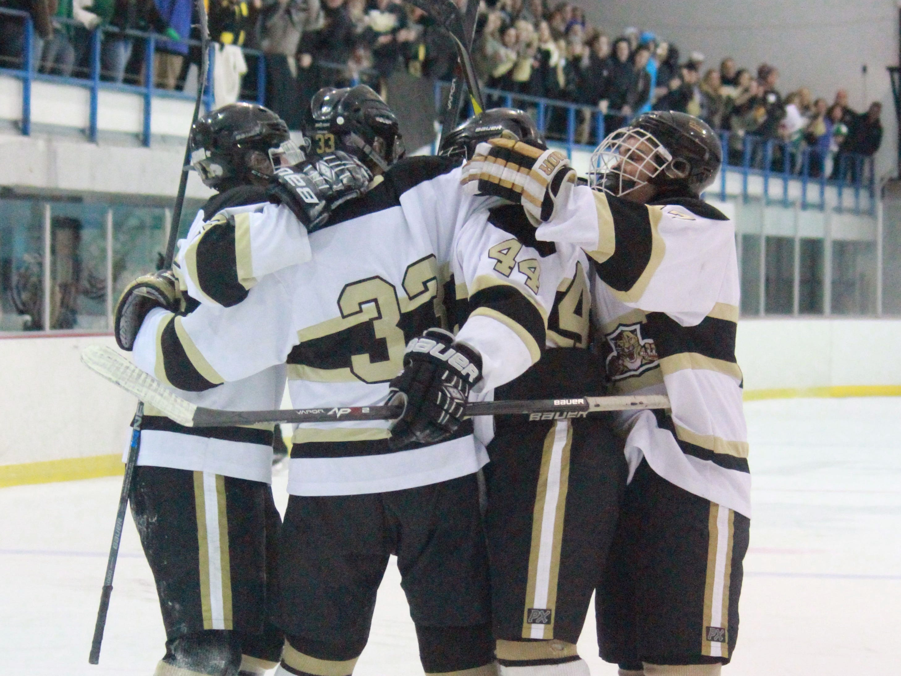 Point Boro celebrates Thomas Colorio's third period goal in the Panthers 6-3 upset of Brick on Friday at the Ocean Ice Palace.