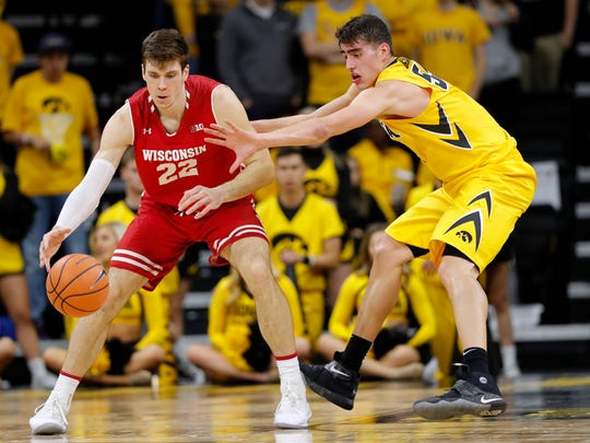 Wisconsin forward Ethan Happ (22) works against Iowa forward Luka Garza during the second half of an NCAA college basketball game Tuesday, Jan. 23, 2018, in Iowa City, Iowa. Iowa won 85-67. (AP Photo/Charlie Neibergall)