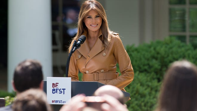 First lady Melania Trump in the Rose Garden of the White House on May 7, 2018.
