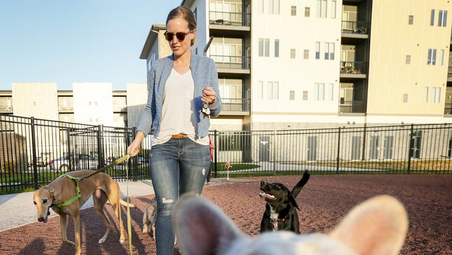 Rebekah Mabrey takes her 4-year-old greyhound Otis to the dog park at the Cityville apartments in Des Moines Wednesday, Oct. 14, 2015.