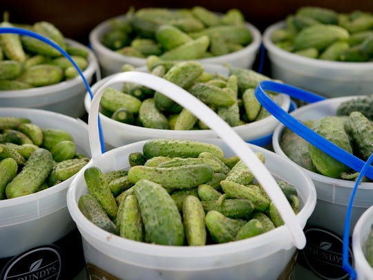 Pickling cucumbers are for sale at a recent farmers market in Marshfield.