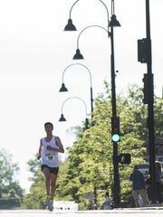 Nicholas Grudev makes his way down Main Street during the 2017 Vermont City Marathon on Sunday May 28, 2017 in Burlington.