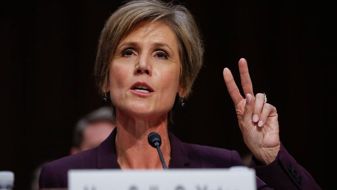 Former acting attorney general Sally Yates testifies on Capitol Hill in Washington on May 8, 2017.