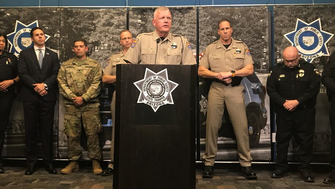 DPS officials speak at a press conference Thursday about Trooper Tyler Edenhofer, who was killed on Interstate 10 late Wednesday.