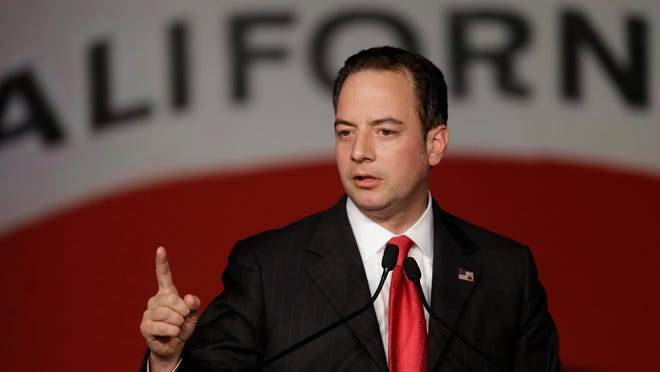 Republican National Committee chairman Reince Priebus gestures while speaking before the California Republican Party 2014 Spring Convention Friday, March 14, 2014, in Burlingame, Calif. (AP Photo/Ben Margot) ORG XMIT: CABM116