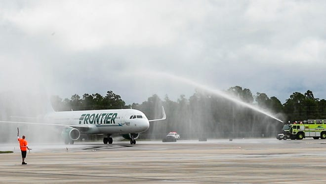 Water canons celebrated the first Frontier flight since they brought service back to RSW. Frontier is bringing new routes to Southwest Florida International Airport. This first flight is  an arrival from Islip, Long Island, New York.