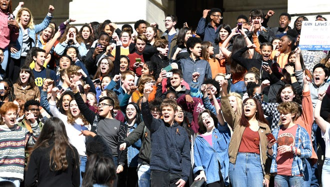 Hume Fogg students protest on the steps of the state Capitol during the National School Walkout Wednesday, March 14, 2018 in Nashville, Tenn. The event marks the one-month anniversary of the shooting at Marjory Stoneman Douglas High School in Parkland, Fla.
