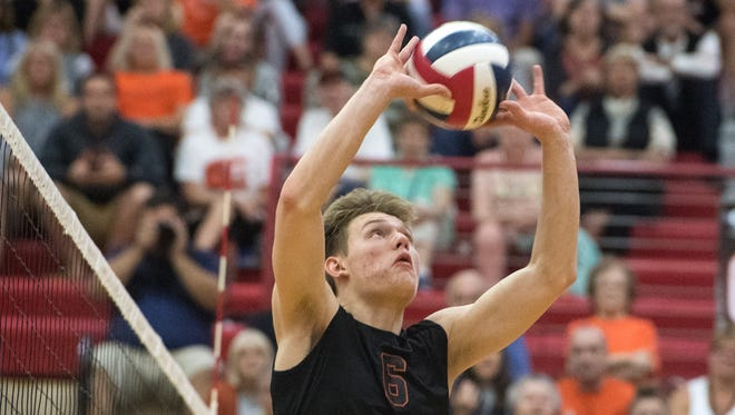 Northeastern's Austin Richards sets the ball, Tuesday, June 5, 2018. The Northeastern Bobcats beat the Palmyra Cougars in three sets to advance to the PIAA Class 2A finals. Tuesday, June 5, 2018. The Northeastern Bobcats beat the Palmyra Cougars in three sets to advance to the PIAA Class 2A finals.