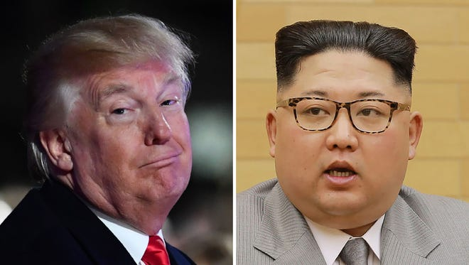 This combo shows a file photo taken on Nov. 30, 2017 of  President Trump smiling during the 95th annual National Christmas Tree Lighting ceremony in Washington, DC; and a file picture released by North Korea's official Korean Central News Agency (KCNA) on Jan. 1, 2018 showing North Korean leader Kim Jong Un delivering a New Year's speech at an undisclosed location.