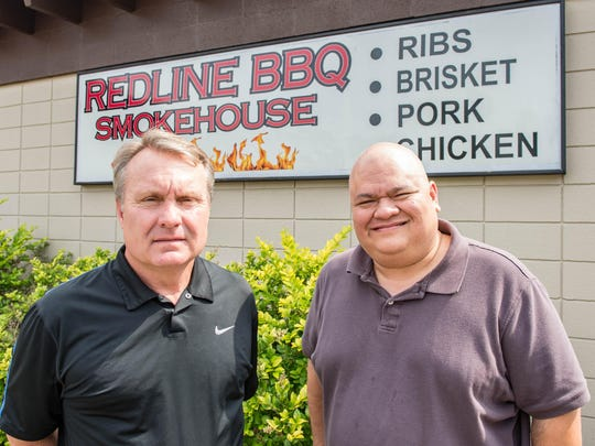 Cris Vocke, left, of the Riverside Golf Club and Rick Pasche of Redline BBQ Smokehouse.