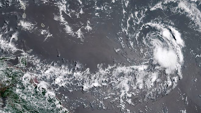 This image obtained from the the National Oceanic and Atmospheric Administration shows Hurricane Beryl on July 7, 2018. Beryl was downgraded to a tropical storm later Saturday.
