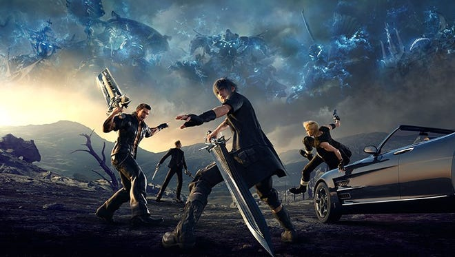 """The cover art for """"Final Fantasy XV,"""" featuring its main protagonists."""