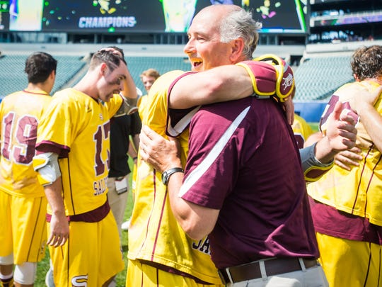 Salisbury University head coach Jim Berkman celebrates the 14-13 win against Tufts University with his team in the NCAA Divison 3 Finals on Sunday, May 29 at Lincoln Financial Field in Philadelphia, PA.