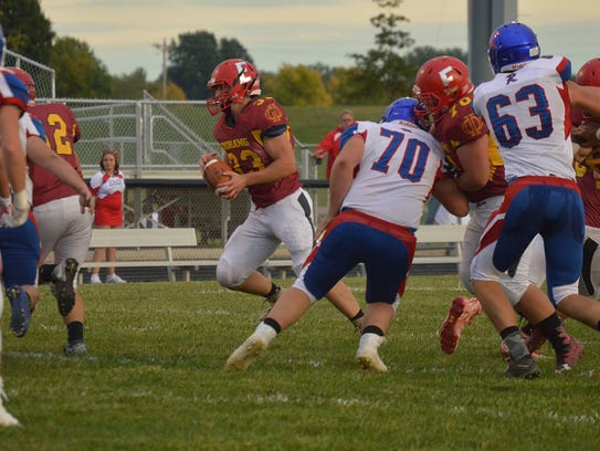 Danyal Minton takes the ball in a game with Riverside.