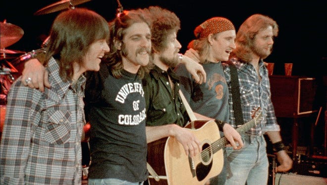 """The Eagles members Randy Meisner, Glenn Frey, Don Henley, Joe Walsh and Don Felder in a still from the film """"History of the Eagles Part 1."""""""