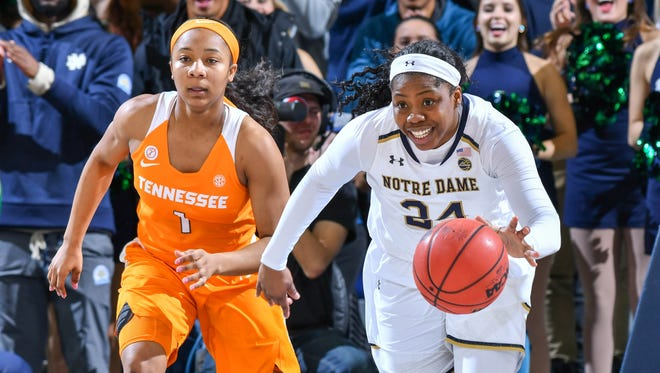 Notre Dame Fighting Irish guard Arike Ogunbowale (24) dribbles as Tennessee Lady Volunteers guard Anastasia Hayes (1) pursues in the second half at the Purcell Pavilion.