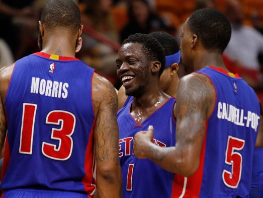 Detroit Pistons guard Reggie Jackson (1) reacts with