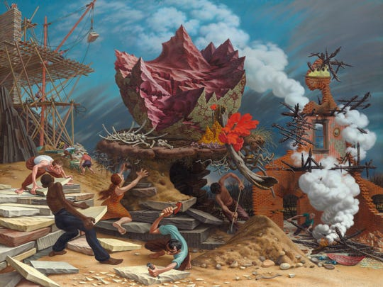 'The Rock' (1945-48) is an oil work on canvas.