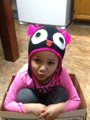 During her time off recuperating from a kidney donation, Janeth Buser crocheted this hat and other projects.