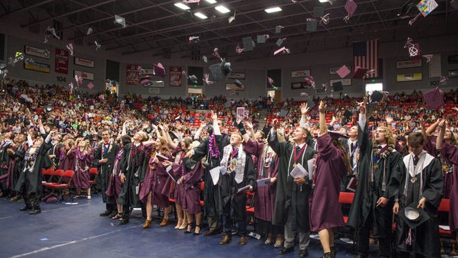 Graduates from Pine View High School celebrate their 2015 commencement Wednesday, May 20, 2015.