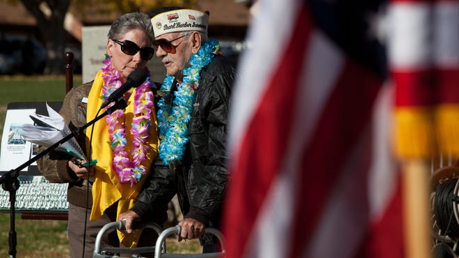 WWII veteran Garth Sawyers talks about witnessing the Dec. 7, 1941, Japanese attack during a 2012 Pearl Harbor Day memorial remembrance ceremony at Vernon Worthen Park in St. George.