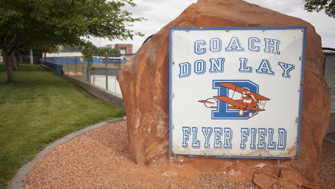 The sign for Don Lay field at Dixie High School is shown Wednesday, May 13, 2015.